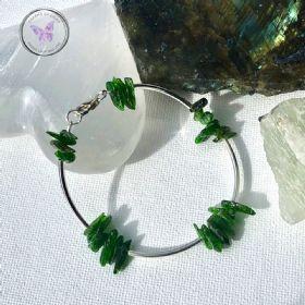Diopside Chip Silver Bangle Bracelet